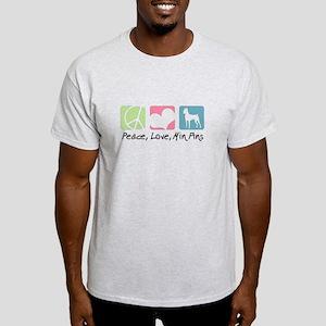 Peace, Love, Min Pins Light T-Shirt