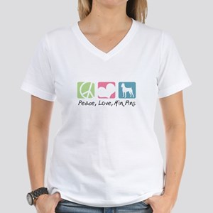 Peace, Love, Min Pins Women's V-Neck T-Shirt