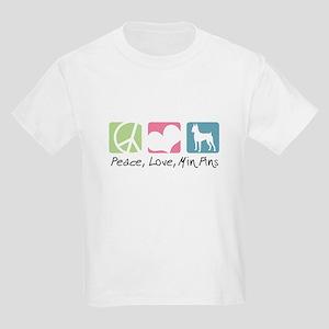 Peace, Love, Min Pins Kids Light T-Shirt