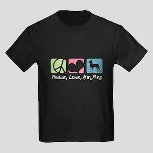 Peace, Love, Min Pins Kids Dark T-Shirt