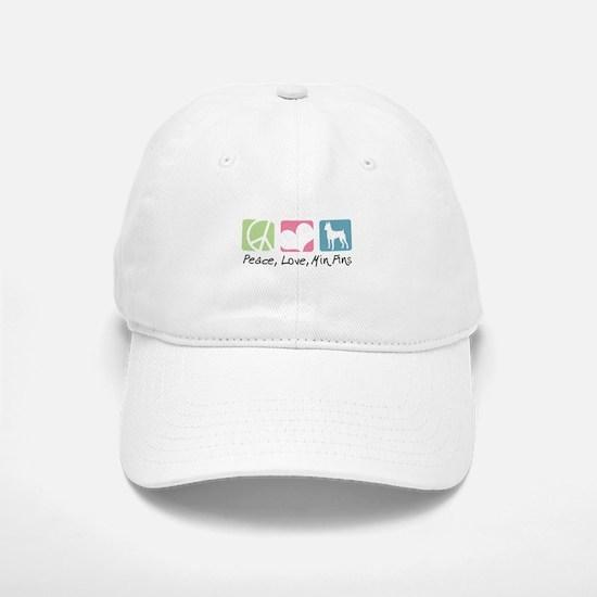 Peace, Love, Min Pins Baseball Baseball Cap