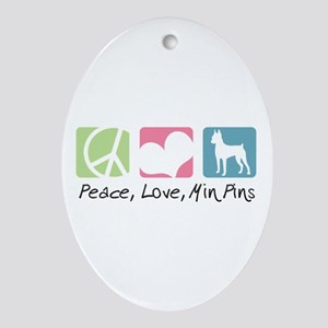 Peace, Love, Min Pins Ornament (Oval)