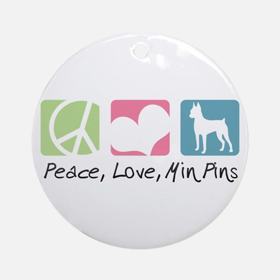 Peace, Love, Min Pins Ornament (Round)