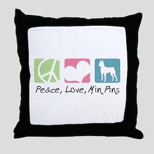 Peace, Love, Min Pins Throw Pillow