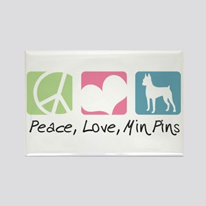 Peace, Love, Min Pins Rectangle Magnet