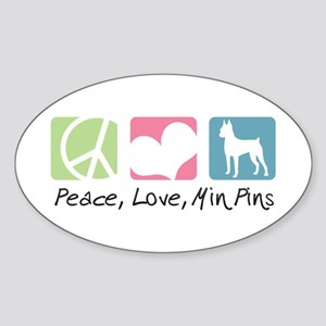 Peace, Love, Min Pins Sticker (Oval)