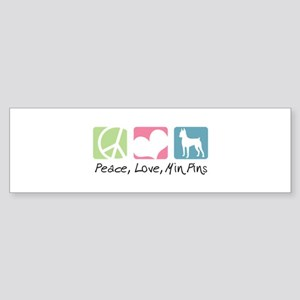 Peace, Love, Min Pins Sticker (Bumper)