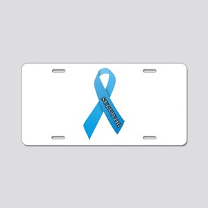 Light Blue Ribbon 'Survivor' Aluminum License Plat