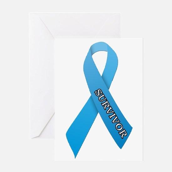 Light Blue Ribbon 'Survivor' Greeting Card