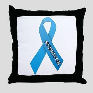 Light Blue Ribbon 'Survivor' Throw Pillow