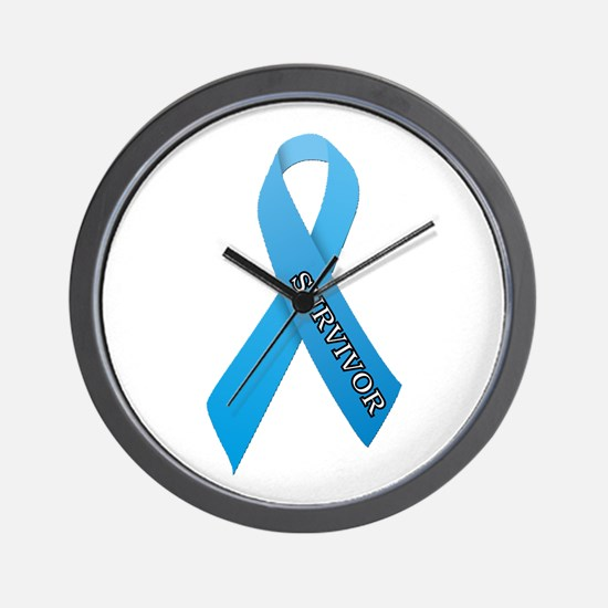 Light Blue Ribbon 'Survivor' Wall Clock