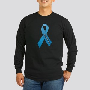 Light Blue Ribbon 'Survivor' Long Sleeve Dark T-Sh
