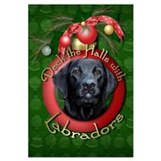 Christmas - Deck the Halls - Labradors Large Frame Canvas Art