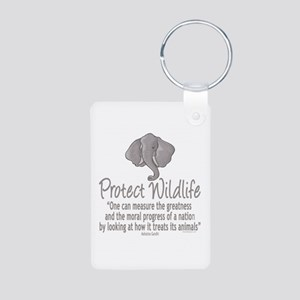 Protect Elephants Aluminum Photo Keychain
