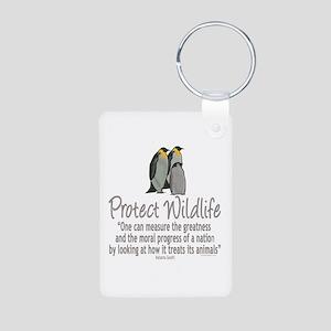 Protect Penguins Aluminum Photo Keychain