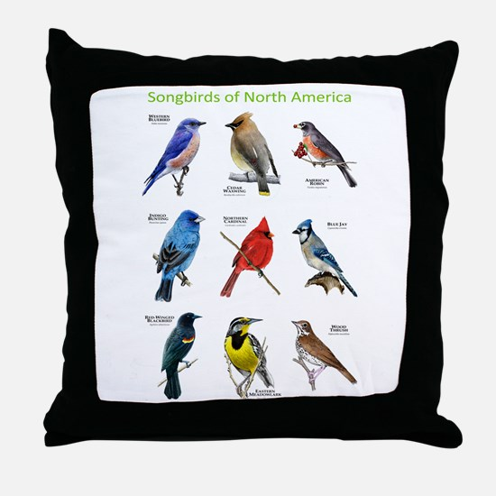 Songbirds of North America Throw Pillow