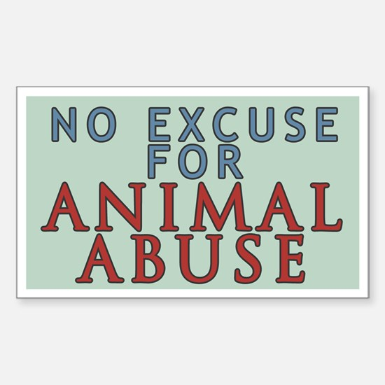 No Animal Abuse Sticker (Rectangle)