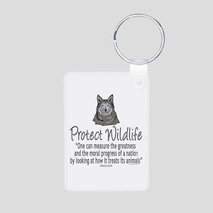 Protect Wolves Aluminum Photo Keychain