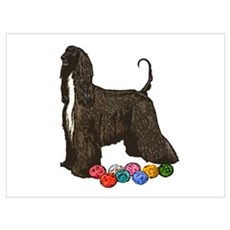 Afghan Hound Christmas Ornaments Poster