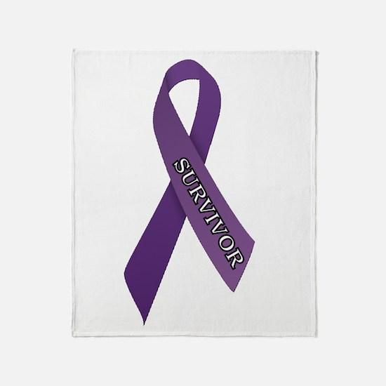 Purple Ribbon 'Survivor' Throw Blanket