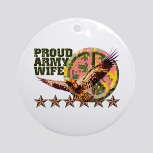 Proud Army Wife with Peace Sign Ornament (Round)