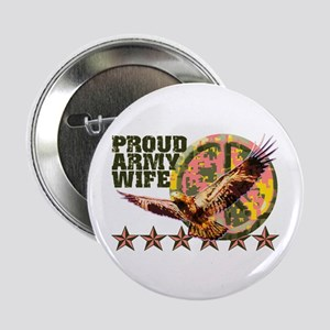 "Proud Army Wife with Peace Sign 2.25"" Button"