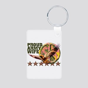 Proud Army Wife with Peace Sign Aluminum Photo Key