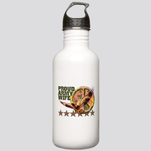 Proud Army Wife with Peace Sign Stainless Water Bo