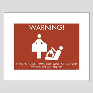 Warning Help Desk Small Poster
