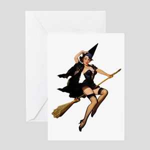 Sexy Witch on a Broomstick Greeting Card