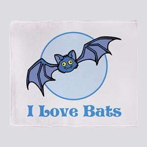 I Love Bats, Cartoon Throw Blanket