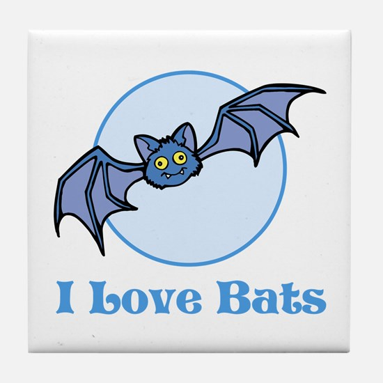 I Love Bats, Cartoon Tile Coaster