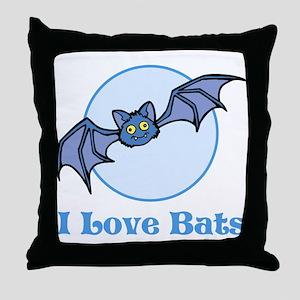 I Love Bats, Cartoon Throw Pillow