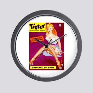 Titter Pin Up Girl in White Top Wall Clock