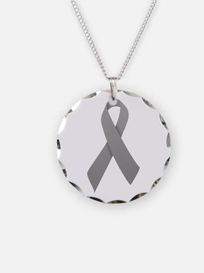 Gray Ribbon Necklace Circle Charm