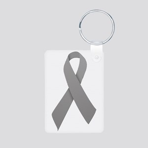 Gray Ribbon Aluminum Photo Keychain