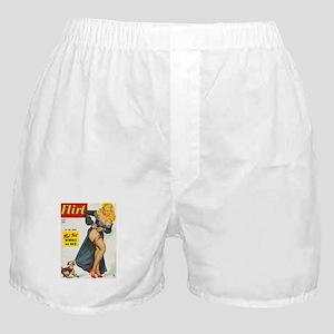 Flirt Pin Up Beauty Girl with Dog Boxer Shorts