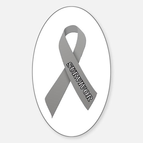 Gray Ribbon 'Survivor' Sticker (Oval)