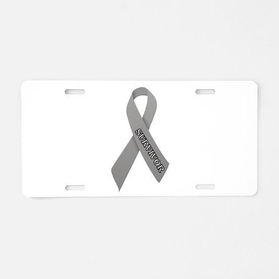 Gray Ribbon 'Survivor' Aluminum License Plate