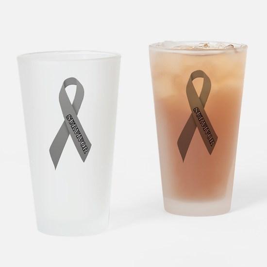 Gray Ribbon 'Survivor' Drinking Glass