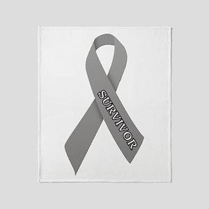 Gray Ribbon 'Survivor' Throw Blanket