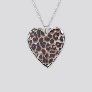 Leopard Print Heart Necklace Heart Charm