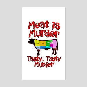 Meat is Murder. Tasty, Tasty Murder. Sticker (Rect
