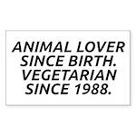 Vegetarian since 1988 Sticker (Rectangle 10 pk)