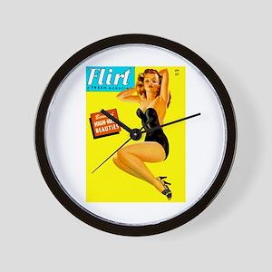 Flirt Vintage Pin Up Girl in Black Wall Clock