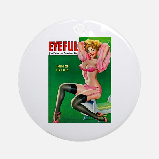 Eyeful Vintage Pin Up Girl in Pink Ornament (Round