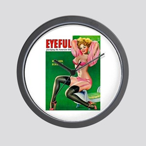 Eyeful Vintage Pin Up Girl in Pink Wall Clock