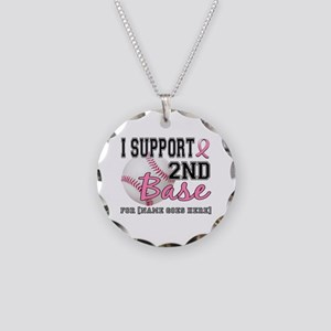 Second 2nd Base Breast Cancer Necklace Circle Char