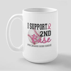 Second 2nd Base Breast Cancer Large Mug
