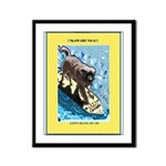 """Surfing Dog"" Framed Panel Print"